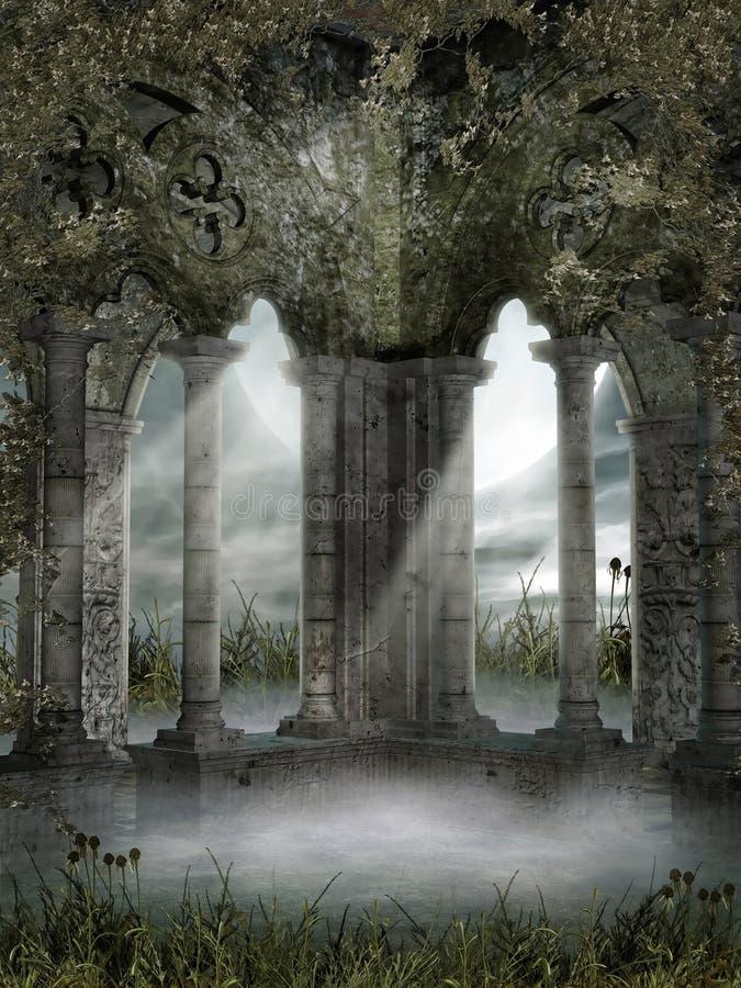 与藤的有雾的废墟 皇族释放例证