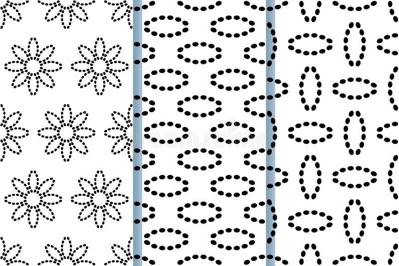 与虚线抽象花的无缝的样式  在黑白的传染媒介背景 设置3个无缝的样式 库存例证