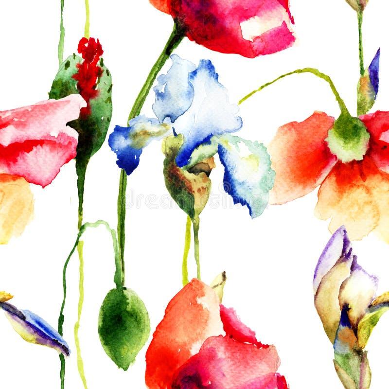 与虹膜和鸦片花的无缝的墙纸 库存例证