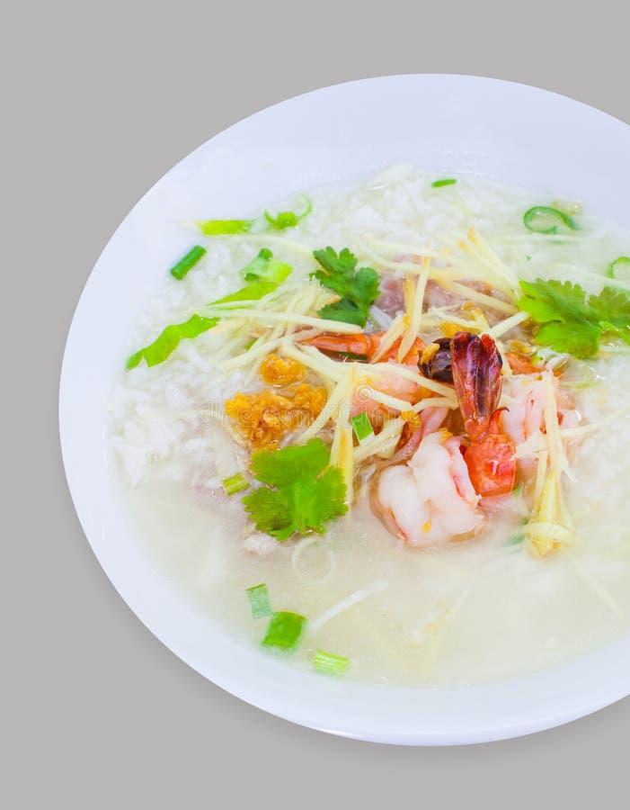 与虾混合的米鞠躬 图库摄影