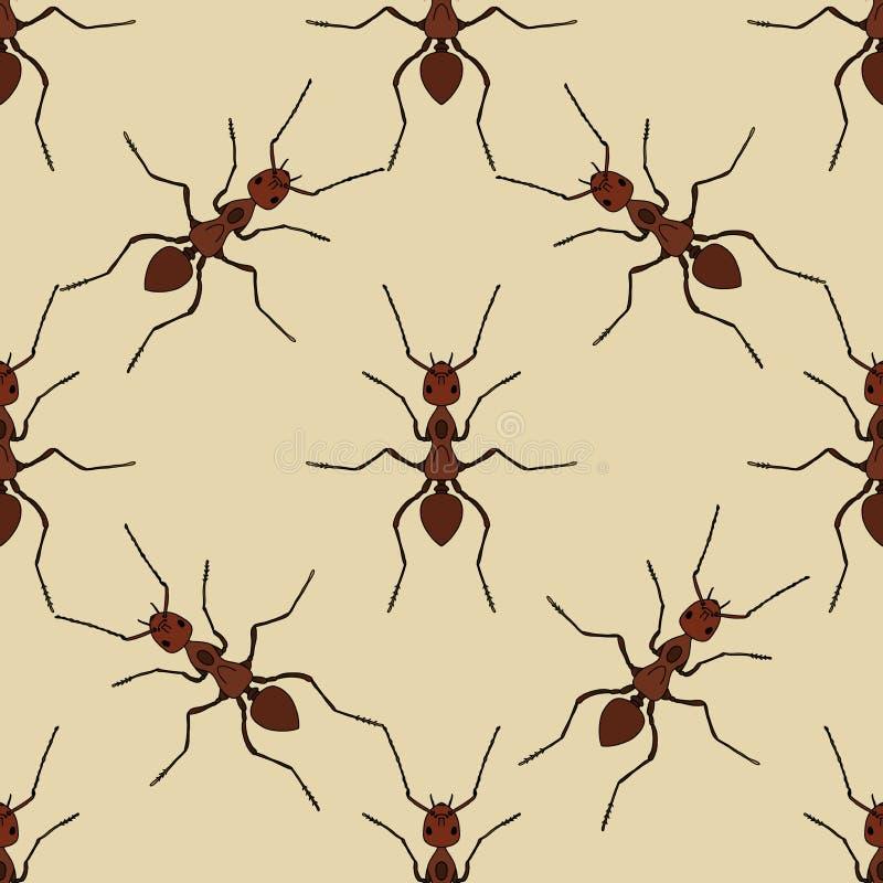与蚂蚁的无缝的样式 胶木exsecta 手拉的蚂蚁 向量 库存例证