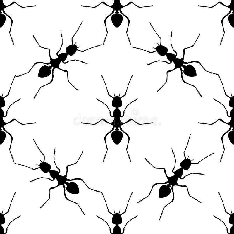 与蚂蚁的无缝的样式 胶木exsecta 手拉的蚂蚁 向量 向量例证