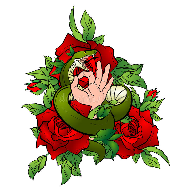 与蛇和手的纹身花刺 库存图片