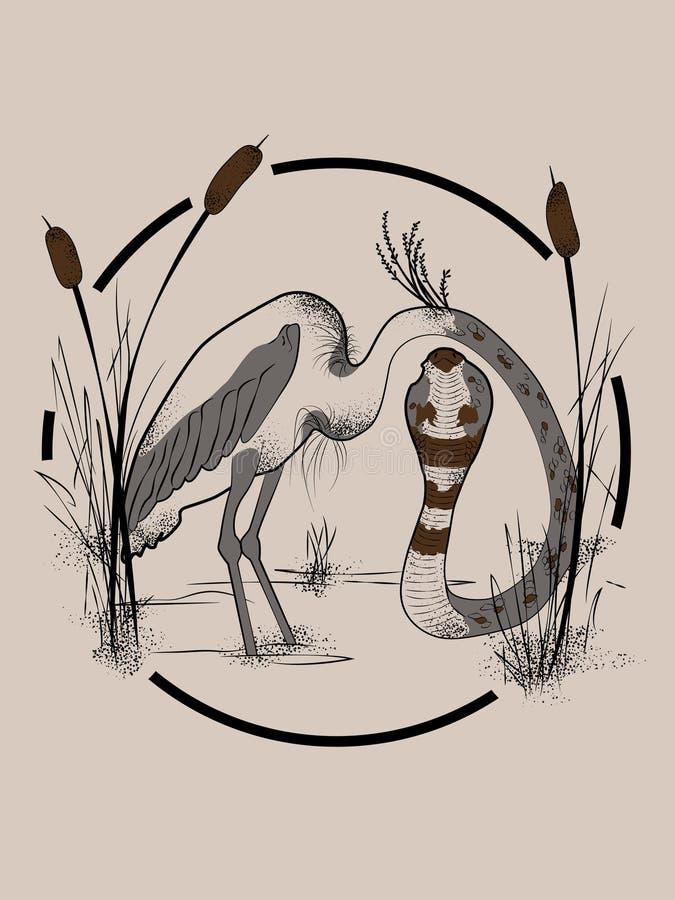 与蛇头的苍鹭身体 库存例证