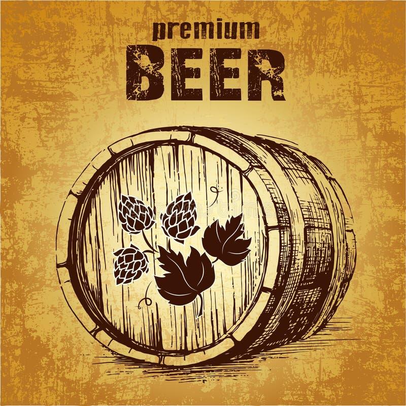 与蛇麻草桶的啤酒 皇族释放例证