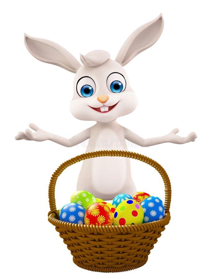 与蛋篮子的复活节兔子 向量例证