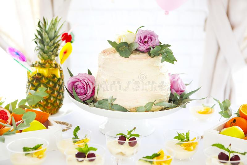 与蛋糕、提拉米苏、panna陶砖和柑橘的棒棒糖 免版税库存图片