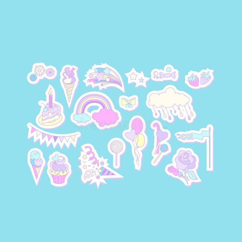 与蛋糕、甜点、冰淇凌、云彩和旗子的独角兽多色贴纸 向量例证