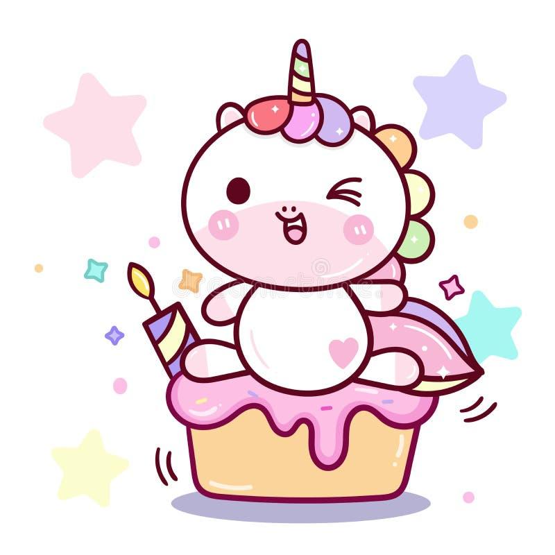 与蛋糕、生日快乐生日聚会与candel chikd男孩的和女孩的逗人喜爱的独角兽传染媒介 向量例证
