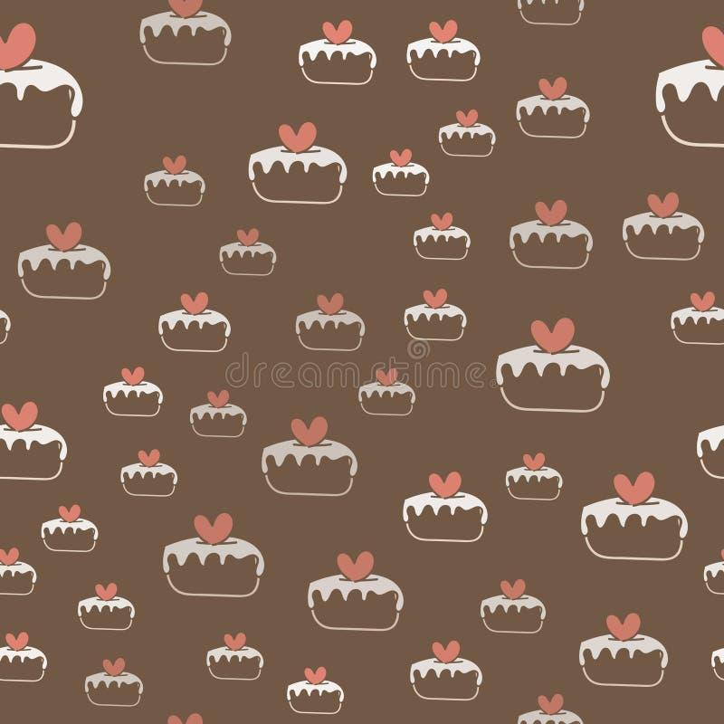 与蛋糕和心脏的无缝的样式 向量 皇族释放例证