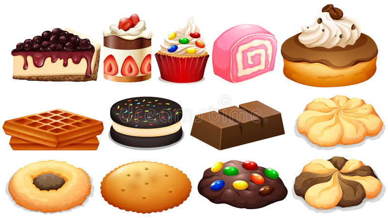 与蛋糕和曲奇饼的点心集合 向量例证