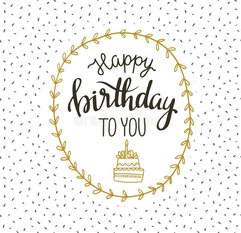 与蛋糕和花圈的逗人喜爱的传染媒介生日快乐卡片 也corel凹道例证向量 库存例证