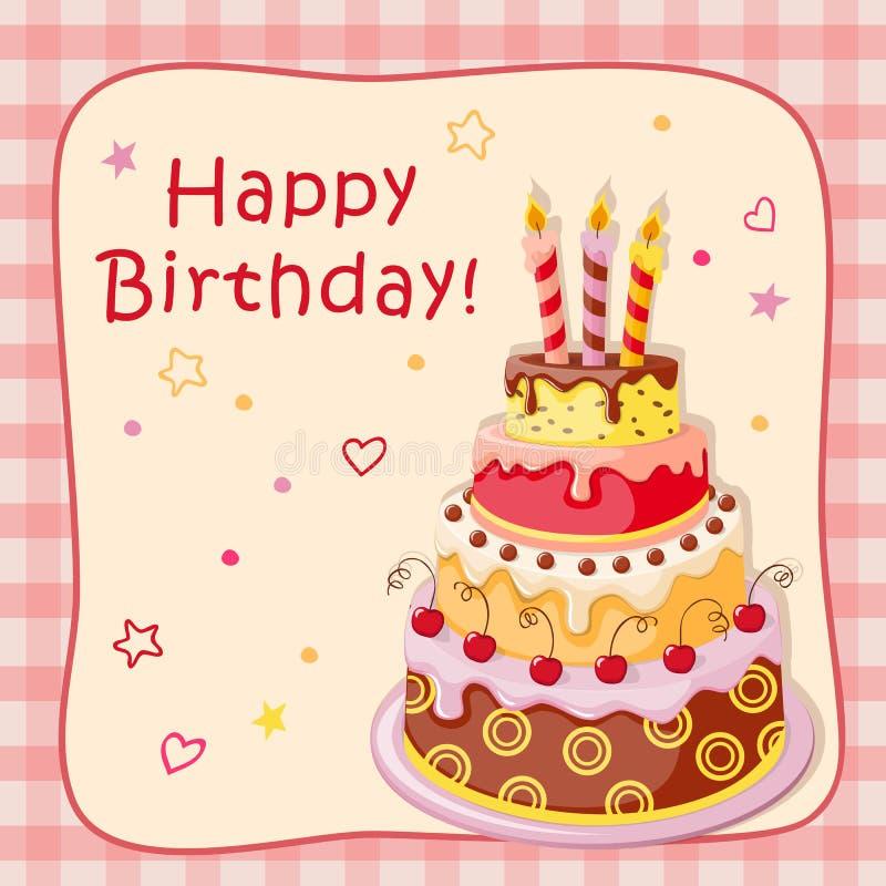 与蛋糕排、蜡烛、樱桃和文本的生日贺卡 向量例证