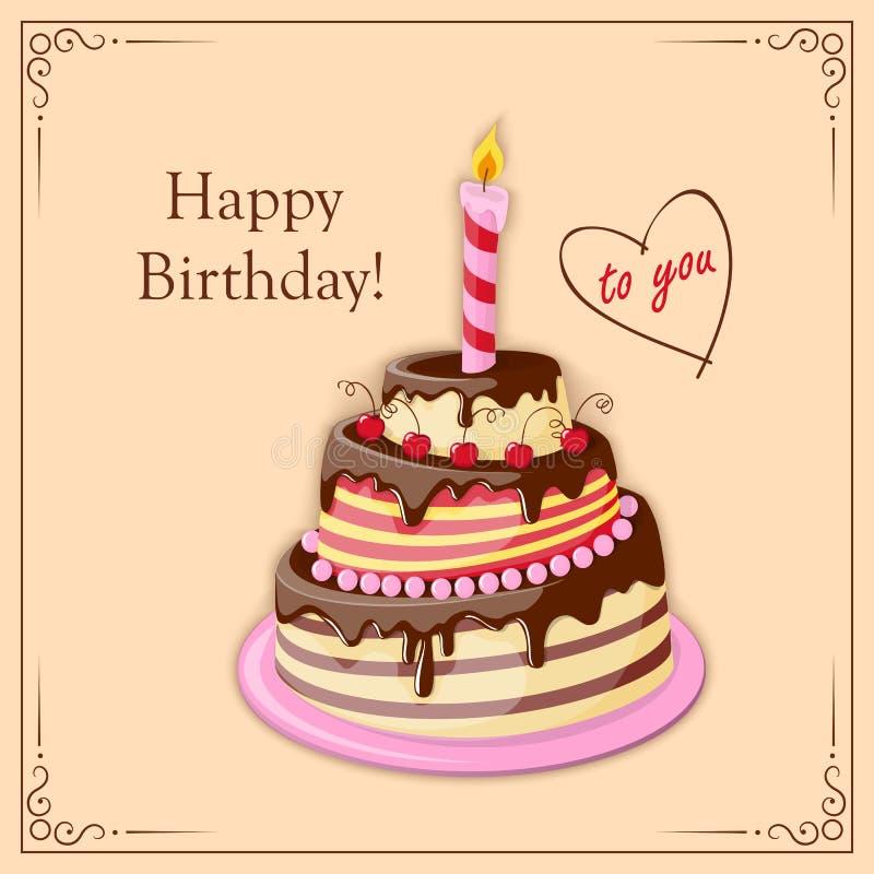 与蛋糕排、蜡烛和文本的生日贺卡 库存例证