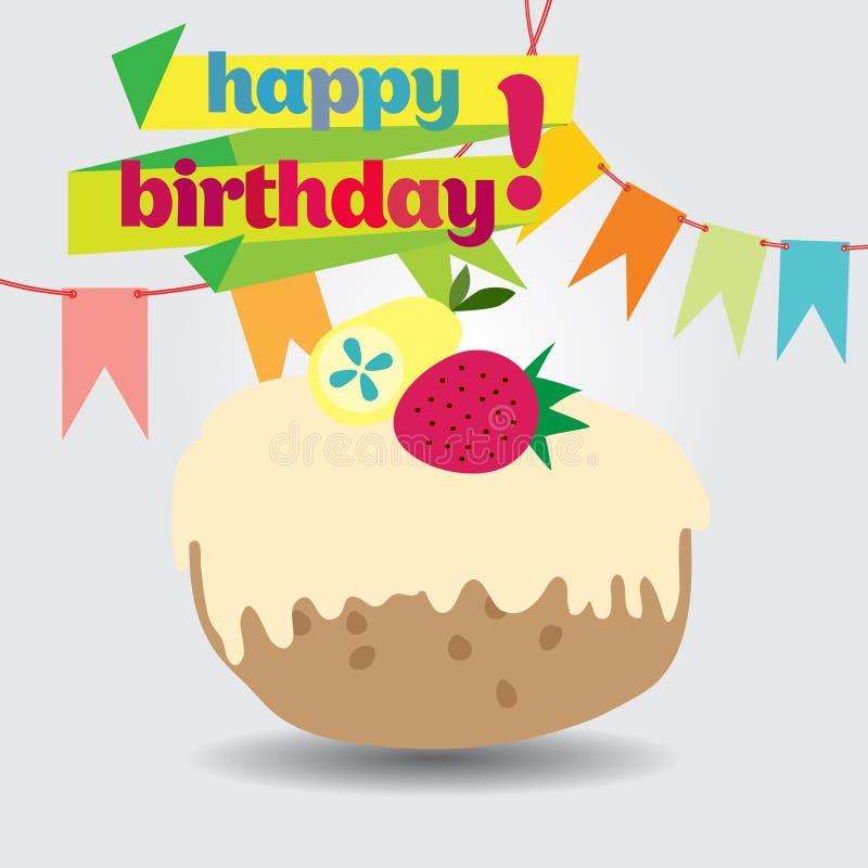 与蛋糕的一张生日贺卡 免版税库存图片