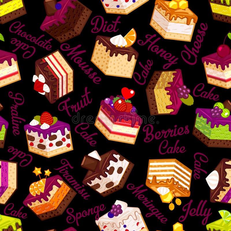 与蛋糕的无缝的样式在黑色 库存例证