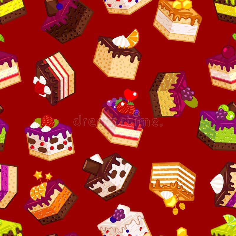 与蛋糕的无缝的样式 向量例证
