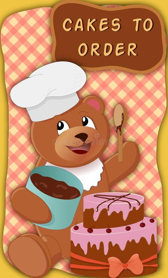 与蛋糕的熊 免版税库存图片