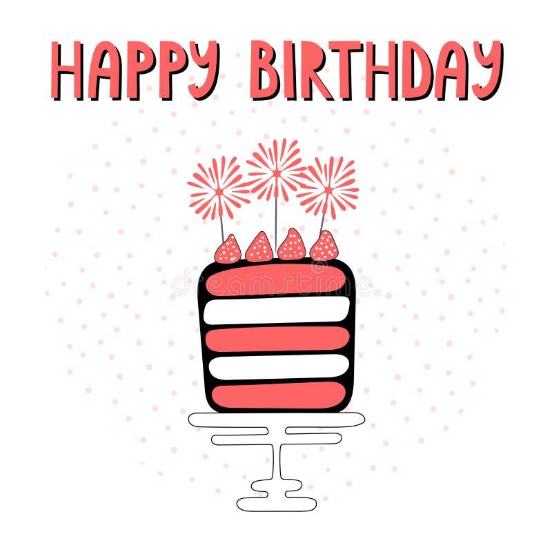 与蛋糕的生日贺卡 皇族释放例证