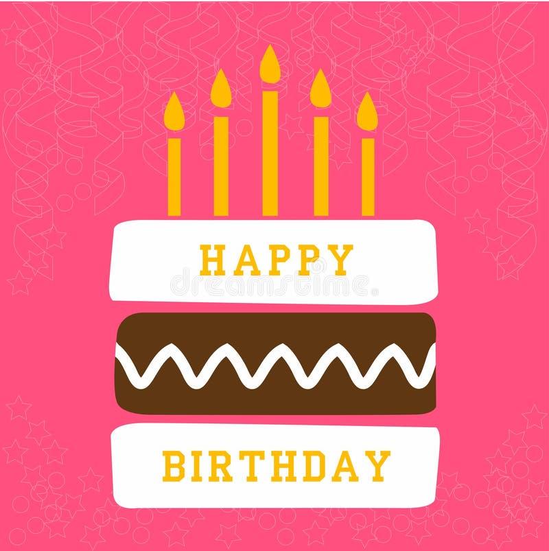 与蛋糕的生日贺卡 向量例证