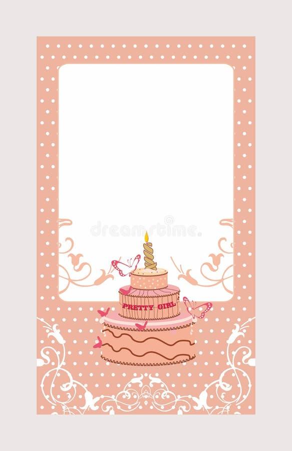 与蛋糕的装饰邀请卡片 向量例证