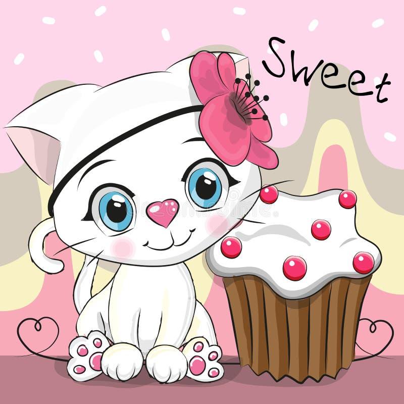 与蛋糕的贺卡逗人喜爱的小猫 皇族释放例证