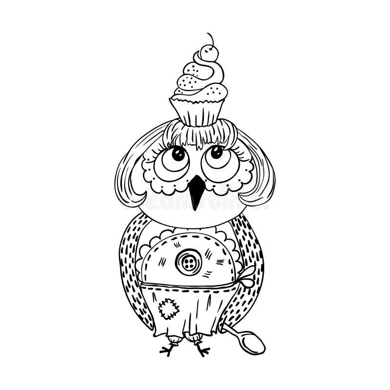 与蛋糕的逗人喜爱的乱画猫头鹰在头 小姐动画片厨师样式 向量例证