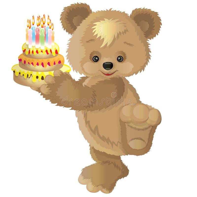 与蛋糕的逗人喜爱的熊 库存例证