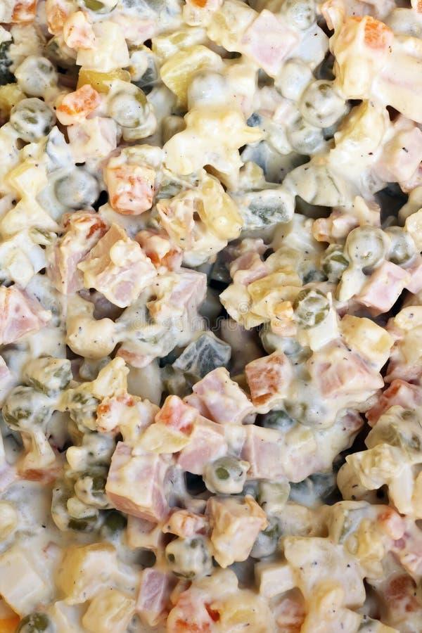 与蛋黄酱不理智的肉沙拉在热 免版税库存照片