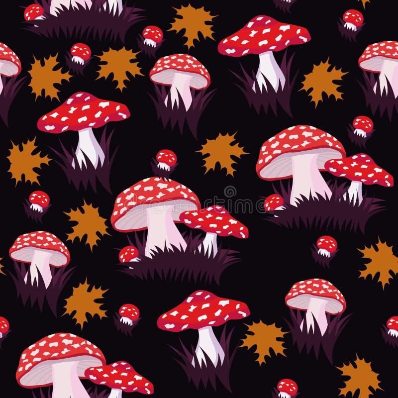与蛤蟆菌和枫叶的无缝的样式 织品的印刷品或包装纸或者其他 o 向量例证