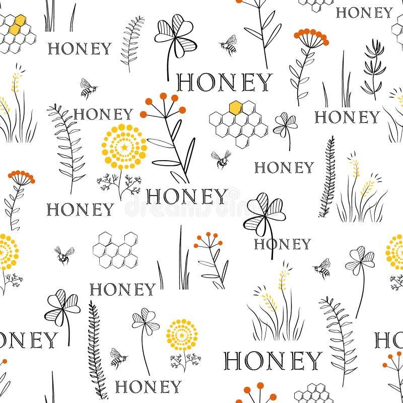 与蜂和花的无缝的样式 手拉的葡萄酒图表乱画设计 印刷品的剪影样式在织品 Vecto 向量例证