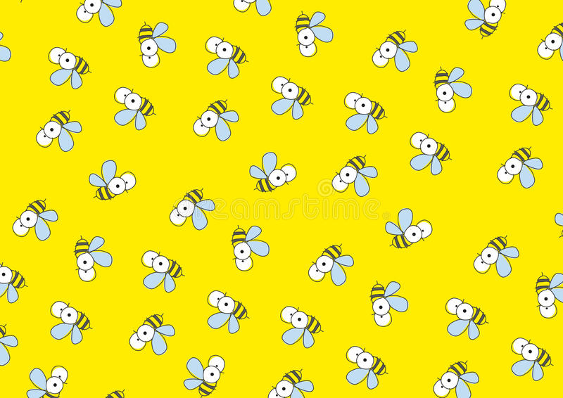 与蜂的黄色背景。 向量例证