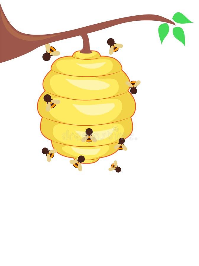 与蜂的黄色蜂蜂房 库存例证