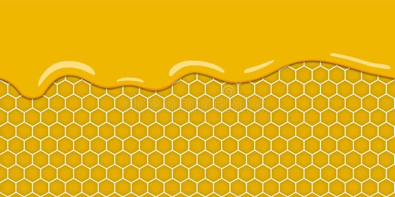 与蜂窝和甜蜂蜜的动画片黄色样式滴下 背景甜点 无缝水平的模式 向量 向量例证