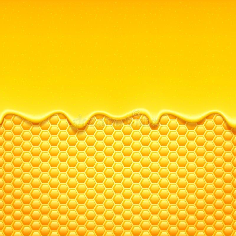 与蜂窝和蜂蜜滴水的黄色样式 皇族释放例证