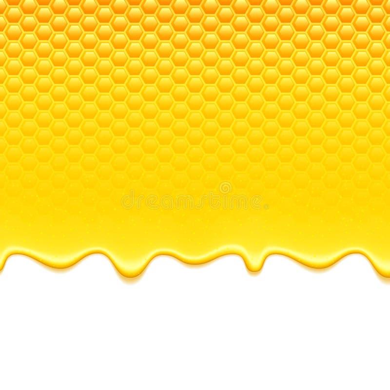 与蜂窝和蜂蜜滴水的黄色样式 向量例证