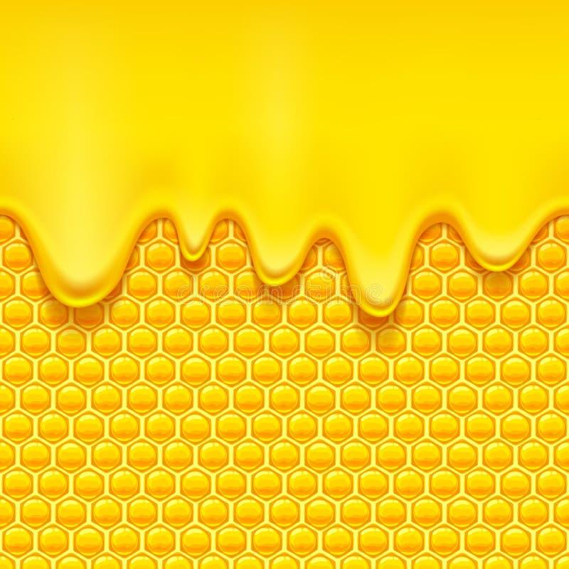 与蜂窝和蜂蜜滴水的黄色样式 库存例证