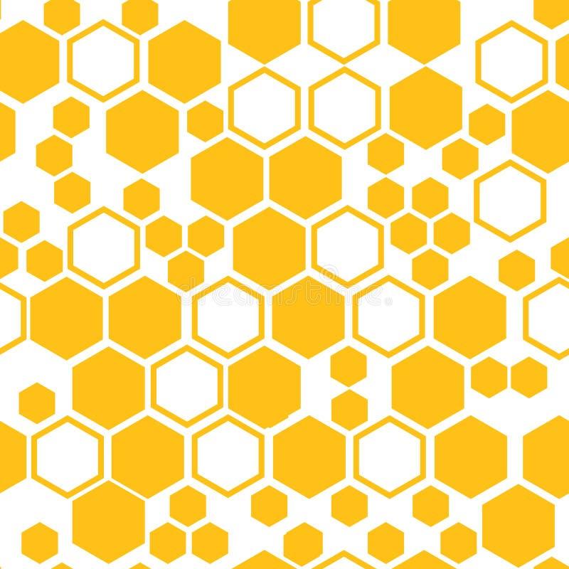 与蜂窝的几何无缝的样式 也corel凹道例证向量 皇族释放例证
