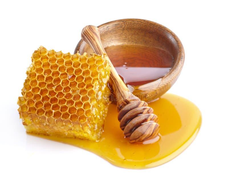 与蜂窝的蜂蜜 免版税图库摄影