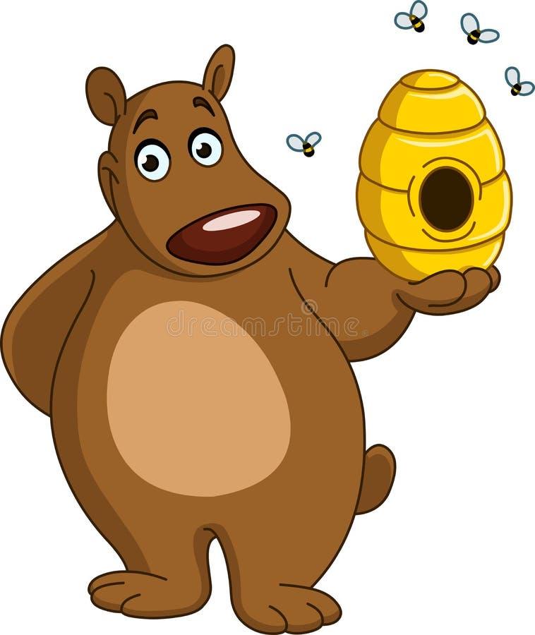 与蜂箱的熊 库存例证
