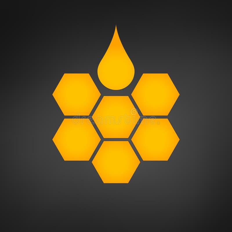 与蜂蜜下落例证的蜂窝商标 皇族释放例证