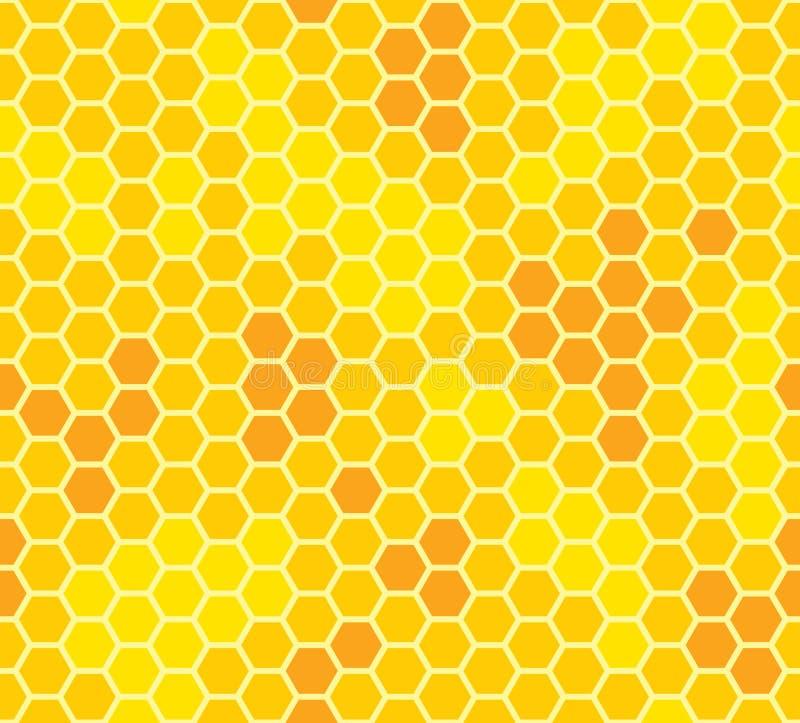 与蜂蜜无缝的样式的蜂窝 向量例证