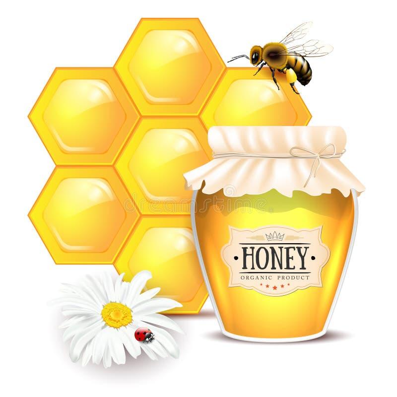 与蜂蜜概念的静物画 库存例证