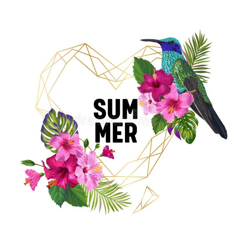 与蜂鸟和异乎寻常的花的夏天热带设计 与金黄框架,热带海鸟, HibisÑ 的花卉背景我们 皇族释放例证