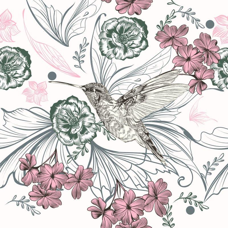 与蜂鸟和玫瑰色花的美好的花卉样式 向量例证