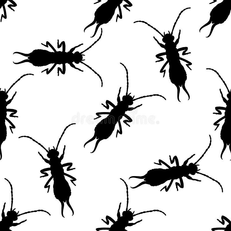 与蜈蚣的无缝的样式 象小剪刀耳状幼虫 手拉的蜈蚣 向量 库存例证