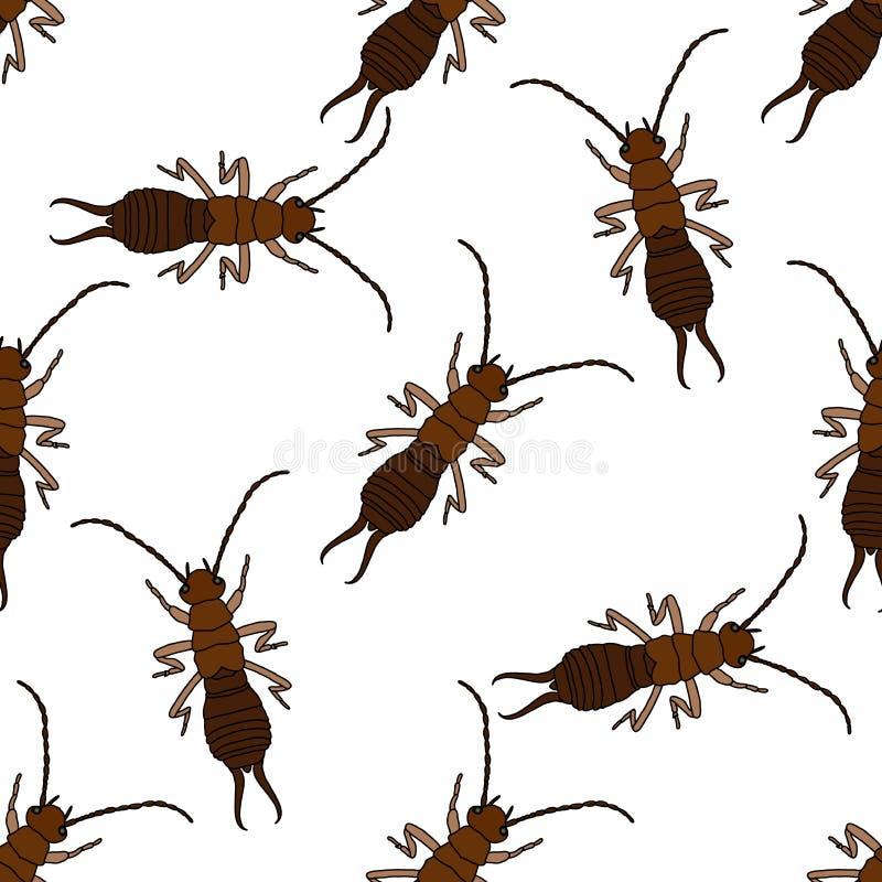与蜈蚣的无缝的样式 象小剪刀耳状幼虫 手拉的蜈蚣 向量 向量例证