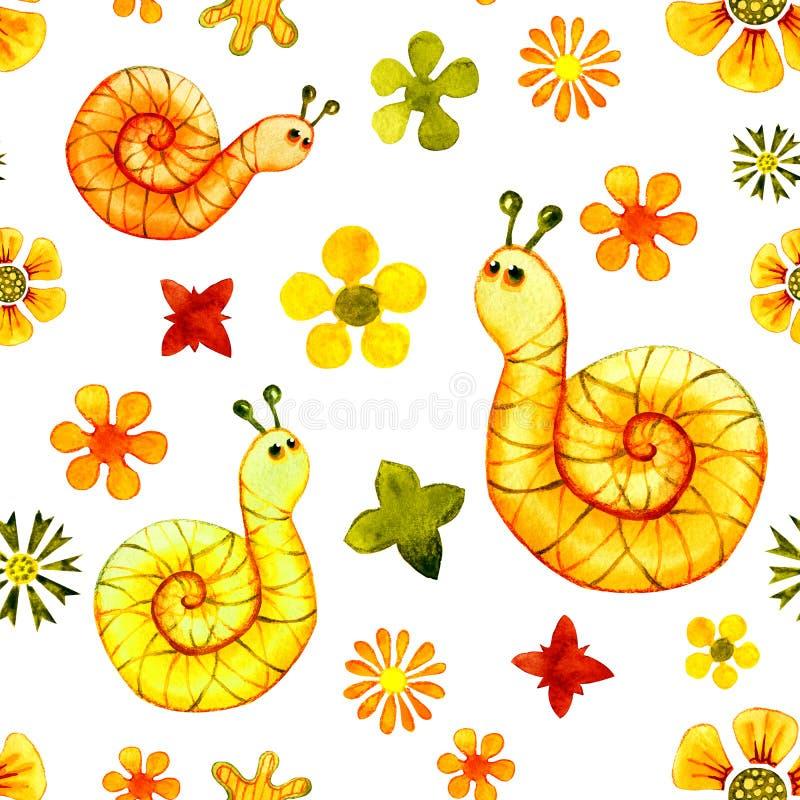与蜗牛的图象的无缝的样式 水彩印刷品,贴纸,背景,卡片设计的动画片例证, 库存例证