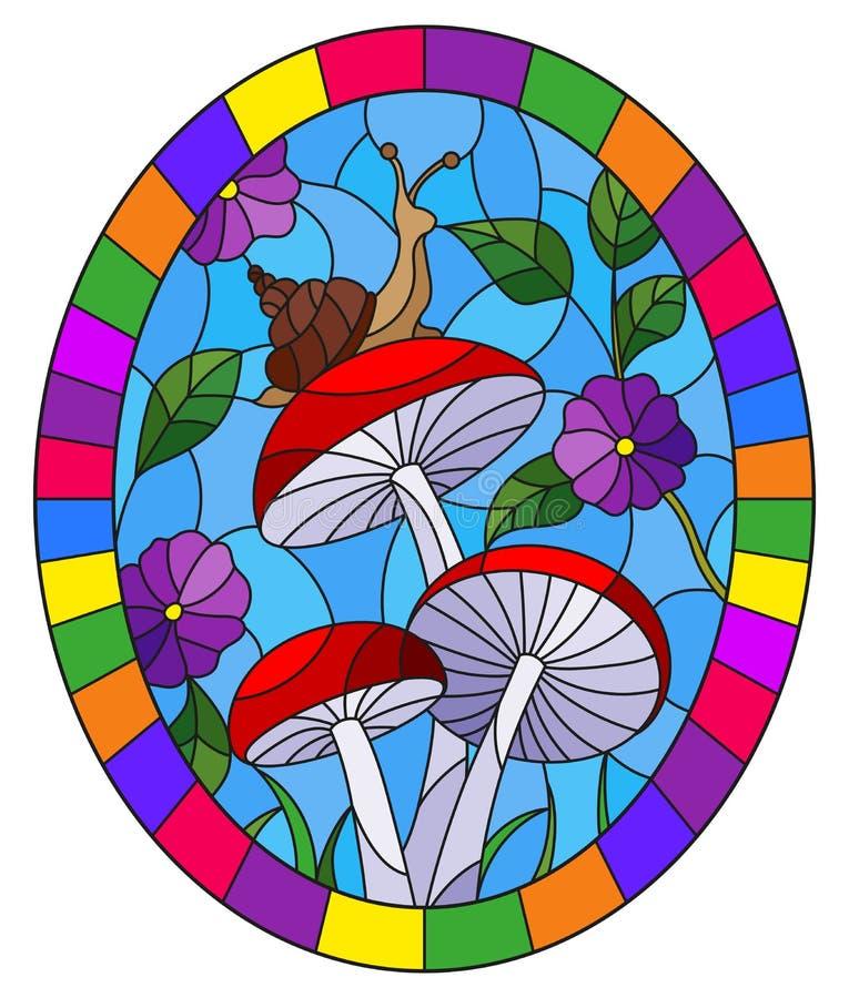 与蜗牛的彩色玻璃例证在蘑菇,在与叶子、草和天空,在brigh的卵形图象的背景分支 库存例证