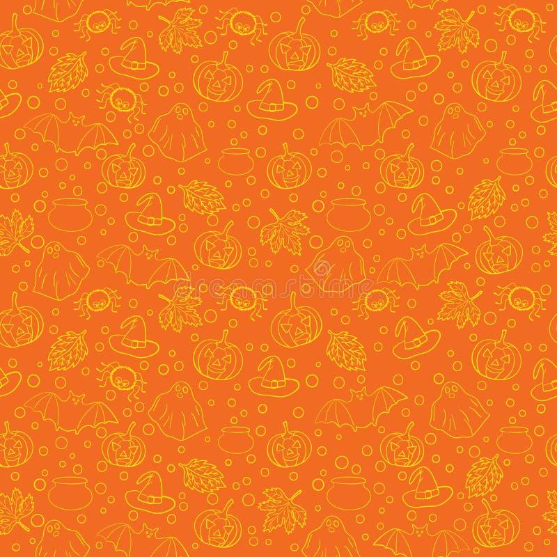 与蜘蛛、巫婆大锅、棒、鬼魂、南瓜、叶子和泡影的万圣夜无缝的样式在橙色背景 皇族释放例证